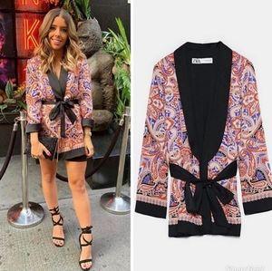 Zara printed blazer with belt pajama style